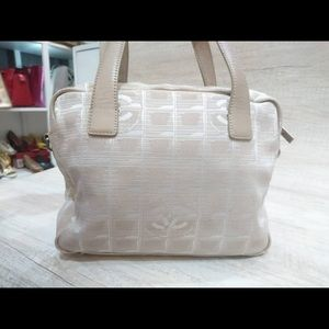 Authentic Chanel Travel Line 2 Way Handbag Beige